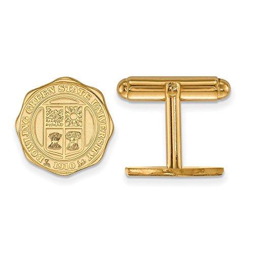 Roy Rose Jewelry 14K Yellow Gold LogoArt Bowling Green State University Crest Cuff Links 14k Green Cufflinks