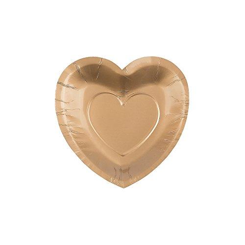 Fun Express 13697632 Paper Gold Heart Shaped Dessert (Heart Shaped Dessert Plates)