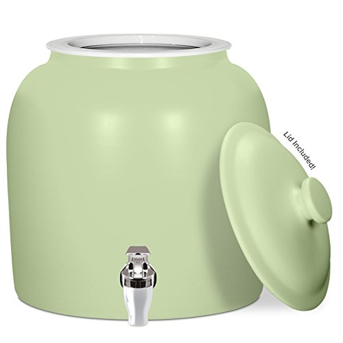 Brio Matte Colored Porcelain Ceramic Water Dispenser Crock with Faucet - LEAD FREE (Matte Green) by Brio