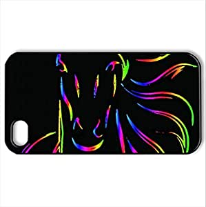 2014 Chinese New Year The Horse - Case Cover for iPhone 4 and 4s (Horses Series, Watercolor style, Black)