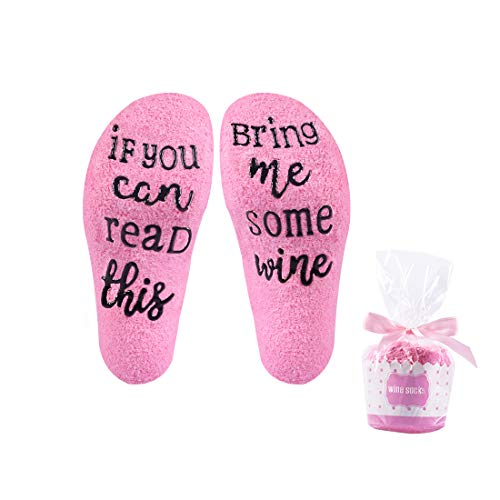 Wine Sock with Cupcake Gift Packing 'If You Can Read This Bring Me Some Wine' Great Gift for Wine Addict Mothers Day Birthday Gift White Elephant Gift (Wine Socks) -