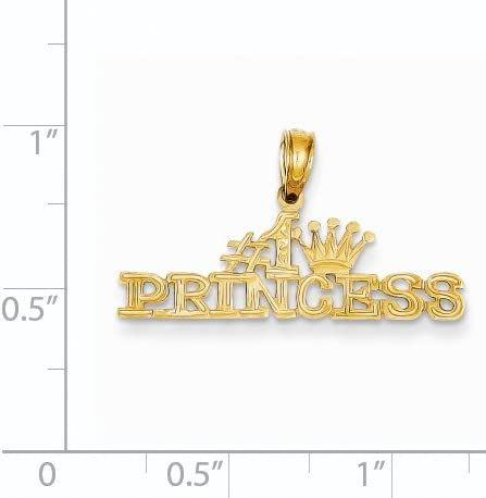 14k Yellow Gold #1 Princess Pendant