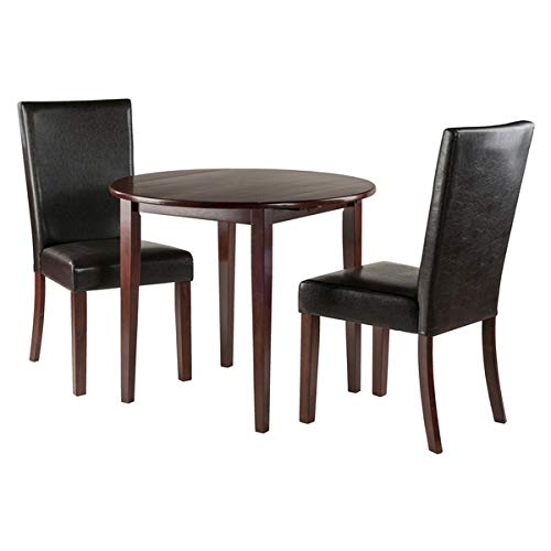 Svitlife Clayton Solid Wood Drop Leaf Table Set with 2 Chairs in Walnut Finish - 3 Piece Leaf Drop Table Antique Mahogany Oak Dining Twist