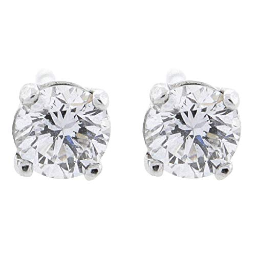 1/2 ct tw G VS2 Natural Round Diamond Studs 14K Gold Screw Back ()