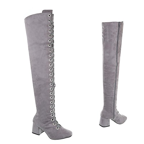Knee Heel Boots Block Design Over Ital Women's Grey Boots Light PIwaYf1q
