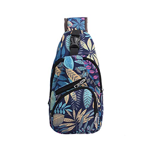 - Clearance Sale!DEESEE(TM)Unisex Lover Fashion Printing Flower Shoulder Bag Crossbody Bags Chest Bags (Blue)