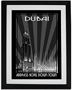 Address Hotel Down Town- Black And White F01-nm (a5) - Framed