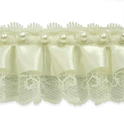 Bradshaw 2in Pearl Accent Ruffled Lace Trim Ivory