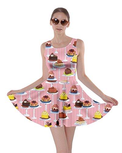 CowCow Womens Afternoon Tea Dessert Skater Dress, Pink - XS -