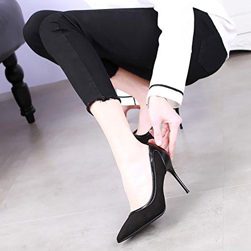Le Sexy Coreana Colore Con 9cm Versione Superficiale Nuovo Scarpe Bocca Black Sottili Moda Della Tacchi Del Delle Combaciano Alti La Khskx HapOTca