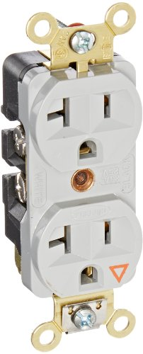 Hubbell Wiring Systems IG5362GY SpikeShield HBL Extra Heavy Duty Specification Grade Straight Blade Isolated Ground Duplex Receptacle, 125V, 20A, 1 HP, 2-Pole, 3-Wire, Gray ()