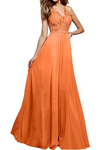 Neu Ballkleider V Spitze Lang Promkleider Neck Abendkleider Orange Hochwertig Ivydressing 50qaHT5