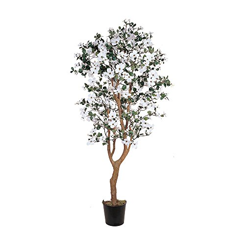 Nearly Natural Home Garden Décor 5' Dogwood Silk Tree White