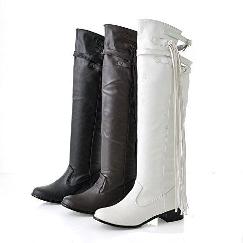 Fashion Heel Womens Flat Heel Round Toe Fringe Over The Knee Boot Black xeXeREUhQa