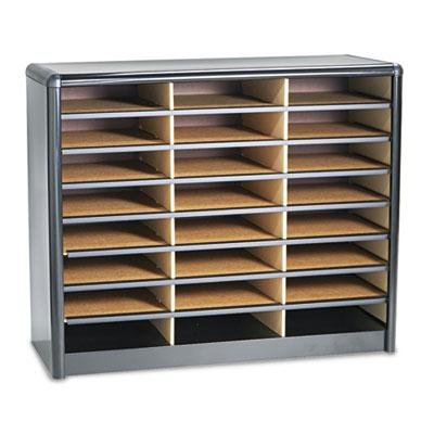 Safco - Steel/Fiberboard Literature Sorter 24 Sections 32 1/4 X 13 1/2 X 25 3/4 Black ''Product Category: Desk Accessories & Workspace Organizers/Sorters''