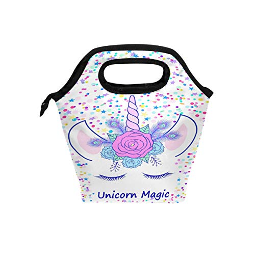 ZOEO Girls Unicorn Lunch box Tote Lunch Bag Head Cream Magic Pink Floral Tiara Insulated Waterproof Cooler Handbags with Zipper for Outdoor Travel Picnic School Office ()