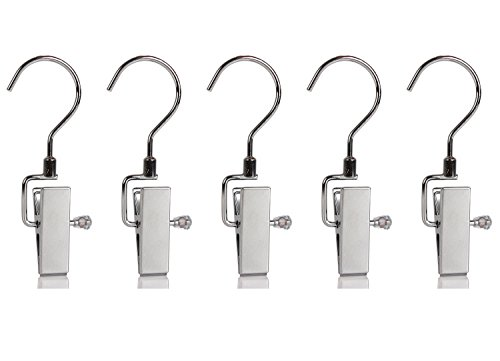 Set of 5 Swivel Metal Clip Hook Hangers for Hanging Boots Home Office Travel Portable