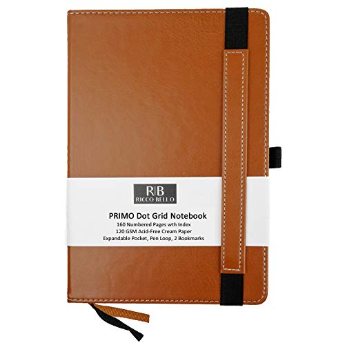 RICCO BELLO Primo Classic Dot Grid Notebook with Pen Loop/Hardcover, Fountain Pen Friendly, Banded, 2 Bookmarks, Expandable Pocket, Numbered Pages with Index / 5.7 x 8.4 inches (Brown)