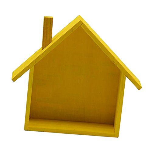 LOVIVER House Shape Wood Wall Shelf Display Hanging Shelves Box Organizer 7 Colors - Yellow