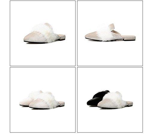 Flipflops Libre Negro Zapatillas Zapatos de Punta Invierno Felpa otoño de Estrecha al DANDANJIE Femenino tacón Aire y Moda Plano de de caseros Zapatillas Zapatos Mujer de e WRqvF