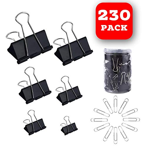 130 Pc Assorted Size Binder Clips + [100 Bonus Paper Clips] - 6 Sizes Paper Clamp - Sturdy Container Included (Black) (Black Metal Clips)