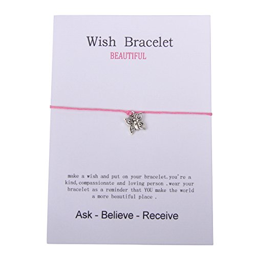 Valyria Good Luck Wish Bracelet Gift Card Friendship Bracelet Fit for 14cm-28mm(5 4/8-1 1/8) (Butterfly)