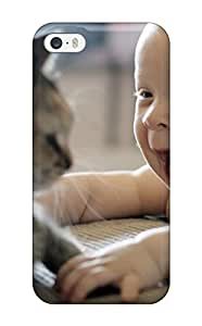 High Quality CJVOhuq1026zTuKv Baby With Cat Tpu Case For Iphone 5/5s(3D PC Soft Case)