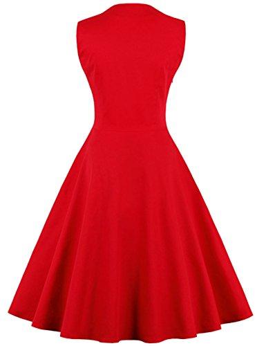 vkstar® Vintage 50 para vestido de noche elegante con botones Rockabilly Swing vestido de cóctel: Amazon.es: Ropa y accesorios