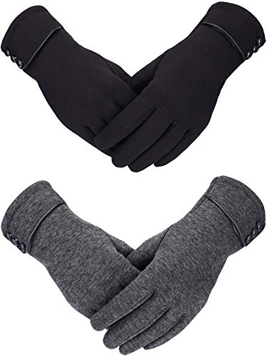 Sumind 2 Pairs Women Winter Gloves Warmer Plush Glove Lined Windproof Gloves for Women and Girls (Black, Gray)