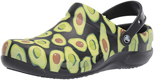 Crocs Unisex Bistro Graphic Clog, Black/Volt Green, 12 Men/ 14 Women M US