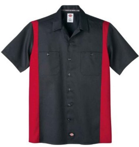 (Dickies Men's Short-Sleeve Two-Tone Work Shirt, Black/English Red, X-Large)
