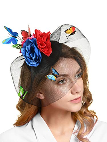 (Tea Party Hat for Women Fascinators Kentucky Derby Wedding Hair Clip Headpiece with Butterfly (2-Blue and Red))