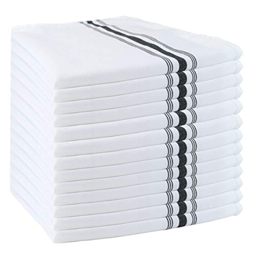 (Arkwright Bistro Dinner Napkins Bulk Pack of 12 | Professional Restaurant Quality Kitchen Dish Towels (18 x 22 Inch, Black) )