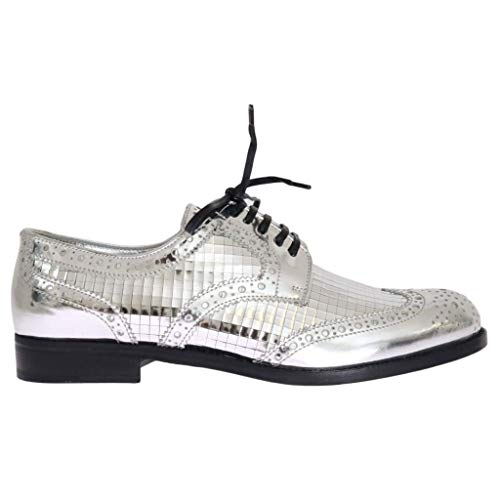 Dolce & Gabbana Silver Leather Oxford Broques Flat Shoes