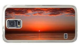 Hipster Samsung Galaxy S5 Case top cover ocean evening sun PC Transparent for Samsung S5