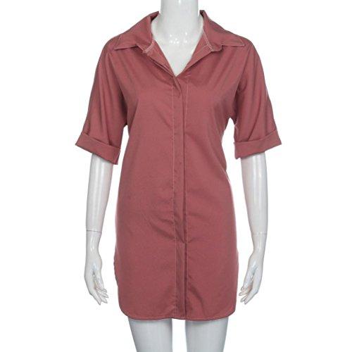 Largo Camisa Mujer SMARTLADY Blusa de Manga corta Rojo