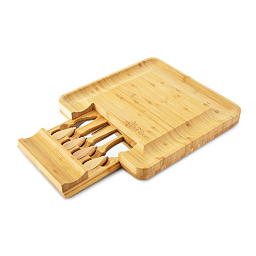 - Bamboo Cheese Board and Knife Set - for cheese, meat, and appetizer dishes. 12 x 15 inches. Comes with 4 piece serving set.