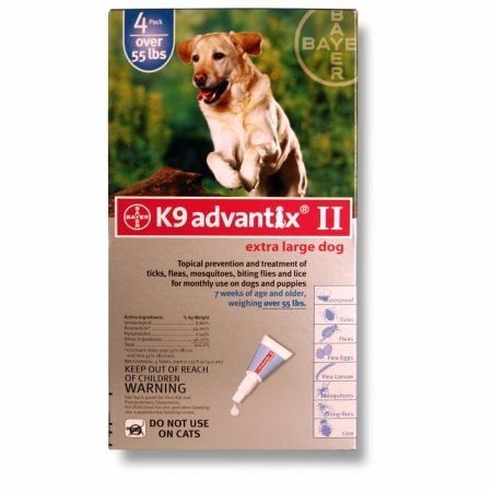 BAYER 004BAY-04461642 K9 Advantix II for X-Large Dogs 55 Plus lbs, Blue - 4 Months