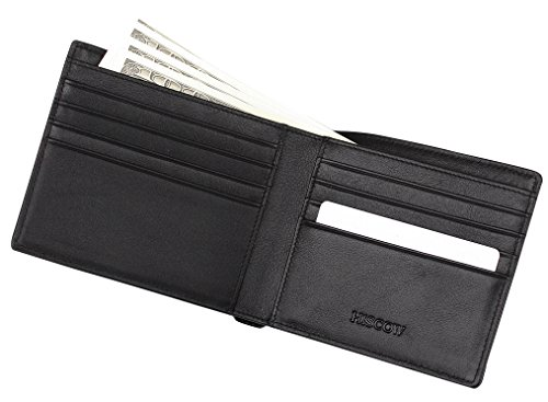 HISCOW Bifold Wallet Black with 8 Credit Card Slots - Italian Calfskin (Calfskin Embossed Wallet)