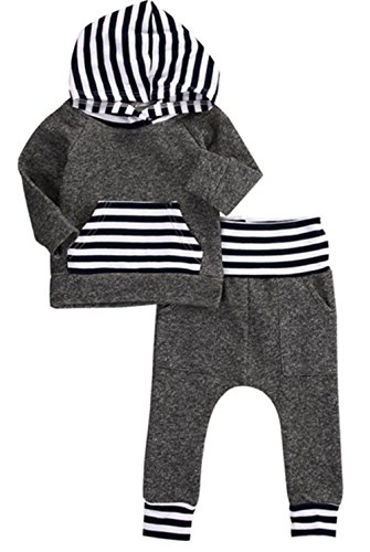 Infant Baby Boys Outfits Gray Stripe Long Sleeve Clothes Coat Warm Hoodie Tops Sweatsuit Pants Outfit Set 6 Months