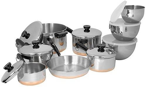 Amazon Com Revere Copper Clad Bottom 14 Piece Set Stainless Steel Cookware Sets Kitchen Dining