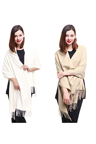 REEMONDE Large Extra Soft Cashmere Blend Women Pashmina Shawl Wrap Stole Scarf (2 Pack - Cream & Khaki) ()