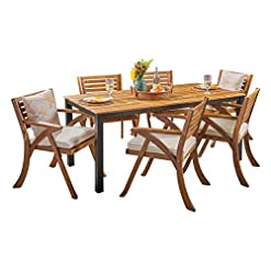 Garden and Outdoor Christopher Knight Home Nora Outdoor 7 Piece Acacia Wood Dining Set, Teak and Cream patio dining sets