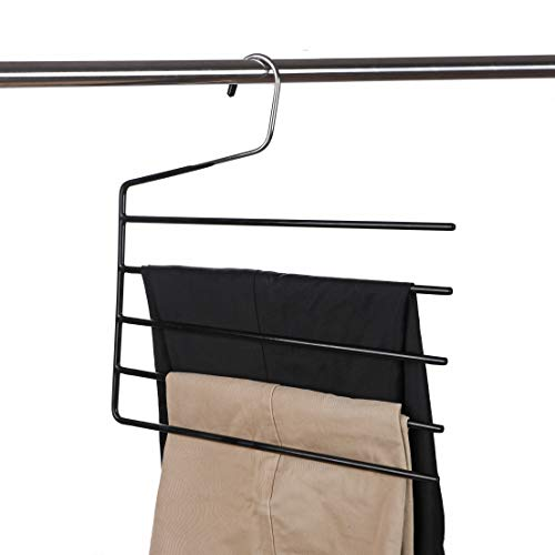 Amber Home Heavy Duty Chrome Deluxe 5 Tier Slack Hangers Pants Hangers Pack of 1