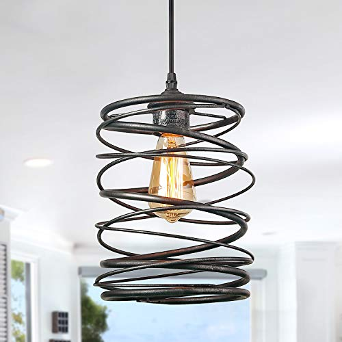 - LNC Pendant Lighting For For Kitchen Island,Rustic Farmhouse Brown Rust Cage Hanging Lamp,Black, A03292