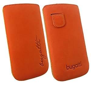 Original Bugatti Mandarin Cuero Nobuck Suave y Aterciopelada Vertical Bolsa Cubierta Case con Técnica Fácil de Estreno Paquete a Granel ( Talla XL ) apto para Motorola Razr XT910