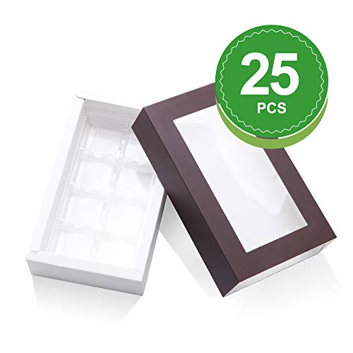 (BAKIPACK Truffle Box, Chocolate Box Packaging, Candy Boxes with 8-Piece Plastics Tray, Pull Out Packing with Clear Window Sleeves (7x4x1.5 Inches) Dark Brown 25)