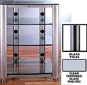 Amazon Com Vti Hgr404 4 Shelf Glass Audio Cabinet Rack