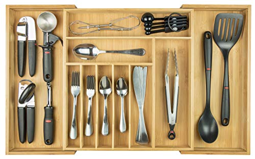 (KitchenEdge Premium Silverware, Flatware and Utensil Organizer for Kitchen Drawers, Expandable to 28 Inches Wide, 10 Compartments, 100% Bamboo)