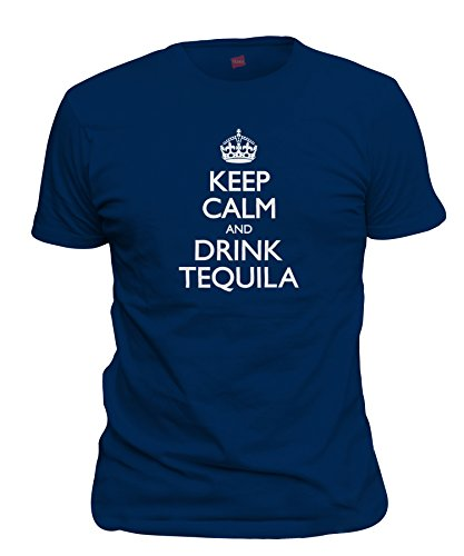Calm And Drink Tequila T-Shirt, Navy Blue Large ()